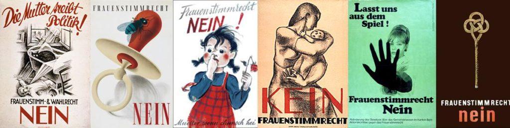 6 Plakate gegen für ein Nein zum Frauenstimmrecht